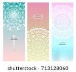 flower mandala set. vintage...   Shutterstock .eps vector #713128060