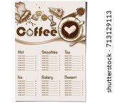 menu coffee shop restaurant... | Shutterstock .eps vector #713129113