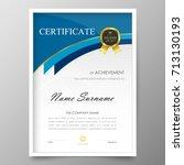certificate premium template... | Shutterstock .eps vector #713130193