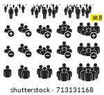 people icon set in trendy flat... | Shutterstock .eps vector #713131168