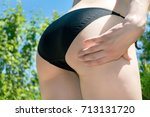 young sexy woman shows her big... | Shutterstock . vector #713131720