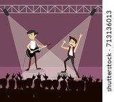 rock group concert. funny happy ... | Shutterstock .eps vector #713136013