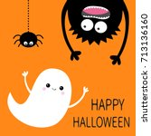 happy halloween card. flying... | Shutterstock . vector #713136160