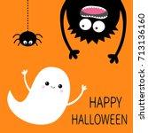 happy halloween card. flying...   Shutterstock . vector #713136160