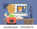 web camera chatting. man and... | Shutterstock .eps vector #713136274