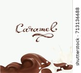 liquid chocolate  caramel or... | Shutterstock .eps vector #713136688