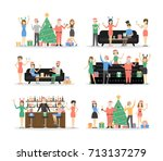 new year party set. people in... | Shutterstock .eps vector #713137279