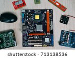 top view of computer parts and...   Shutterstock . vector #713138536