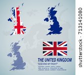 the united kingdom map and flag.... | Shutterstock .eps vector #713141080