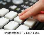 electronic music producer play... | Shutterstock . vector #713141158