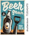 beer bottle and beer opener... | Shutterstock .eps vector #713141473