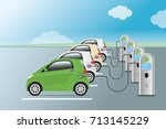 power supply for electric car... | Shutterstock .eps vector #713145229