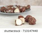 homemade chocolate coconut...   Shutterstock . vector #713147440
