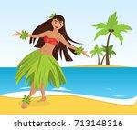 hawaiian hula dancer young...   Shutterstock .eps vector #713148316