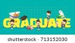 graduation concept illustration.... | Shutterstock .eps vector #713152030