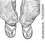hand drawn sketch of male feet... | Shutterstock .eps vector #713152054