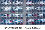 top view of new cars lined up... | Shutterstock . vector #713153530
