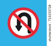 no u turn sign icon | Shutterstock .eps vector #713153728