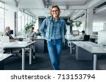 cheerful businesswoman standing ... | Shutterstock . vector #713153794