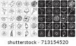 illustration icons bud flowers... | Shutterstock .eps vector #713154520
