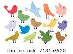 set of cute cartoon birds...   Shutterstock .eps vector #713156920