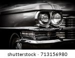 close up detail of restored... | Shutterstock . vector #713156980