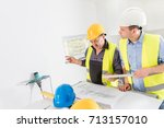 architect and construction... | Shutterstock . vector #713157010