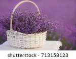 basket with lavender in the... | Shutterstock . vector #713158123