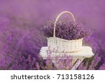 basket with lavender in the... | Shutterstock . vector #713158126