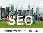 seo optimization. people using... | Shutterstock .eps vector #713158633
