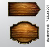 wooden signs  vector icon set | Shutterstock .eps vector #713166004