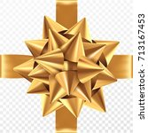 gold gift bow on a transparent... | Shutterstock .eps vector #713167453