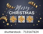 christmas background with gift... | Shutterstock .eps vector #713167624