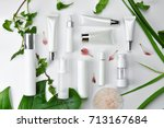 cosmetic bottle containers with ... | Shutterstock . vector #713167684