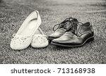 women's and men's wedding shoes ... | Shutterstock . vector #713168938