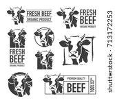 set of beef logo. butchery...   Shutterstock .eps vector #713172253