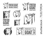 set of goat logo. butchery... | Shutterstock .eps vector #713173924