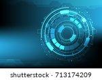 vector digital circuit...   Shutterstock .eps vector #713174209