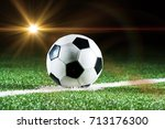 soccer field and the bright... | Shutterstock . vector #713176300