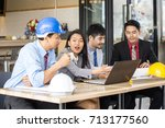 asian people working together ... | Shutterstock . vector #713177560