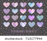 set of 20 glitter marble and... | Shutterstock .eps vector #713177944