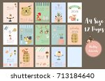 colorful cute monthly calendar... | Shutterstock .eps vector #713184640