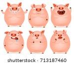 set of cute cartoon emotional... | Shutterstock .eps vector #713187460