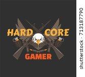 hard core gamer logo with an... | Shutterstock .eps vector #713187790