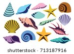 vector set of different shells... | Shutterstock .eps vector #713187916