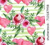 watercolor seamless pattern... | Shutterstock . vector #713187958