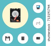 flat icons palmtop  hard disk ... | Shutterstock .eps vector #713191744