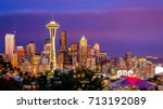 Seattle city skyline at dusk. Downtown Seattle cityscape at night - stock photo