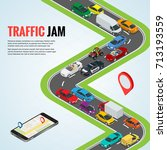 traffic jam and road way... | Shutterstock .eps vector #713193559