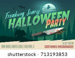 scary halloween party... | Shutterstock .eps vector #713193853
